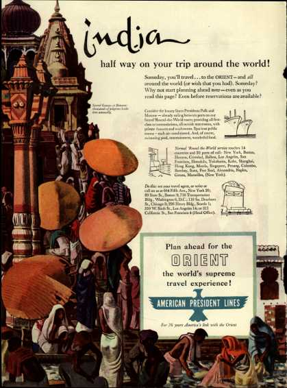 American President Line's India – India, half way on your trip around the world (1950)