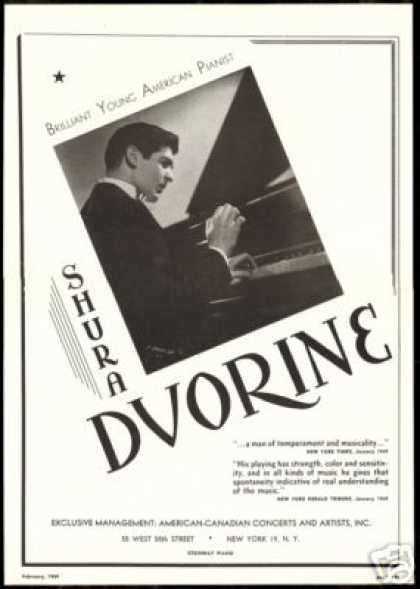 Shura Dvorine Pianist Photo Reviews Vintage (1949)