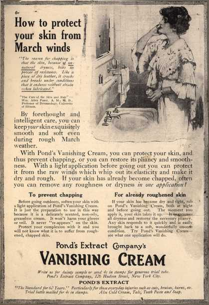 Pond's Extract Co.'s Pond's Vanishing Cream – How to protect your skin from March winds (1915)