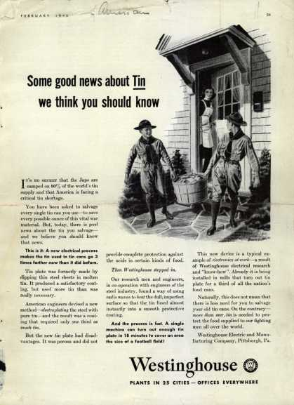 Westinghouse Electric & Manufacturing Company's Corporation – Some good news about Tin we think you should know (1943)