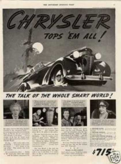 "Chrysler Car Ad ""Tops 'em All... (1937)"