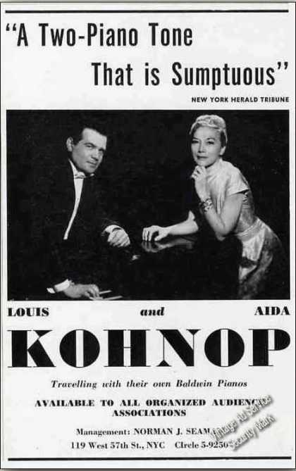 Louis & Aida Kohnop Duo-pianists Booking (1962)