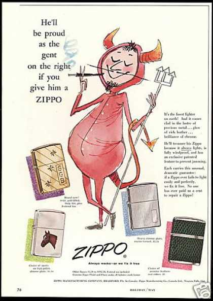Zippo Cigarette Lighter Smoking Devil (1955)