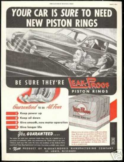 McQuay Norris Leak Proof Car Piston Rings (1947)