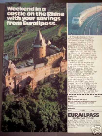 Castle On the Rhine Photo Europe By Train (1979)