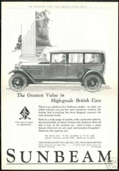 Sunbeam Motor Car Connolly Vintage Art UK (1928)