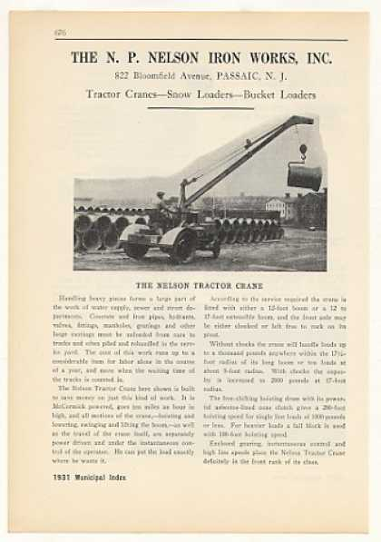 N P Nelson Iron Works Tractor Crane Photo (1931)