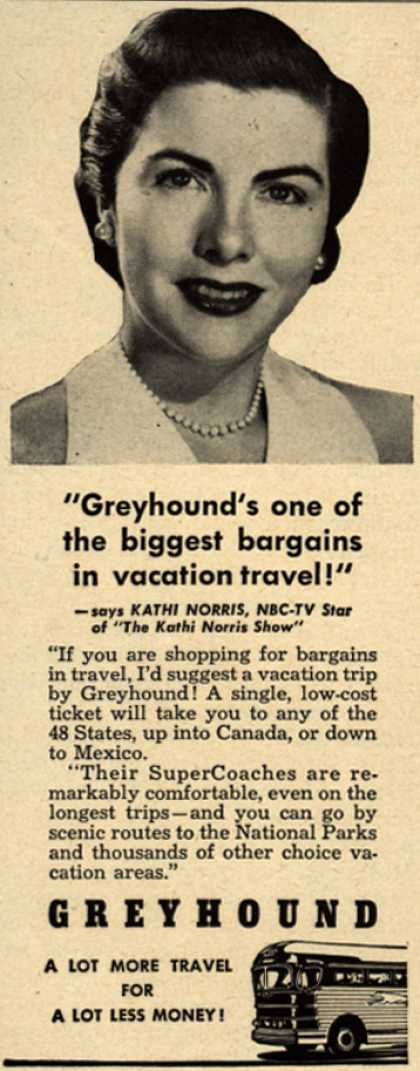"Greyhound – ""Greyhound's one of the biggest bargains in vacation travel!"" (1951)"