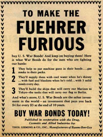 Thos. Leeming & Co.'s War Bonds – To Make The Fuehrer Furious (1943)