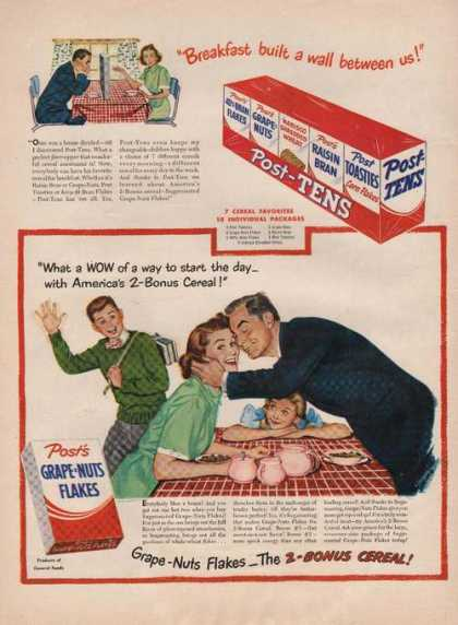 Posts Grape Nuts Flakes Cereal (1949)