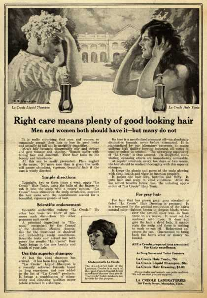 La Creole Laboratorie's La Creole Hair Tonic, Shampoo, and Hair Dressing – Right care means plenty of good looking hair (1920)