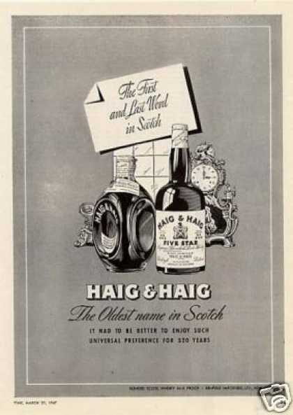 Haig & Haig Scotch Whiskey (1947)