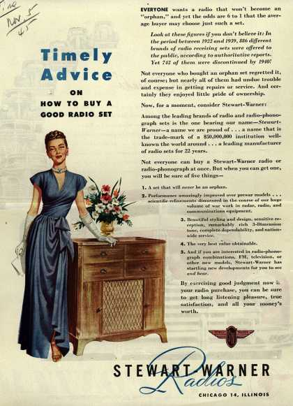 Stewart-Warner Corporation's Radio – Timely Advice on How to Buy a Good Radio Set (1945)