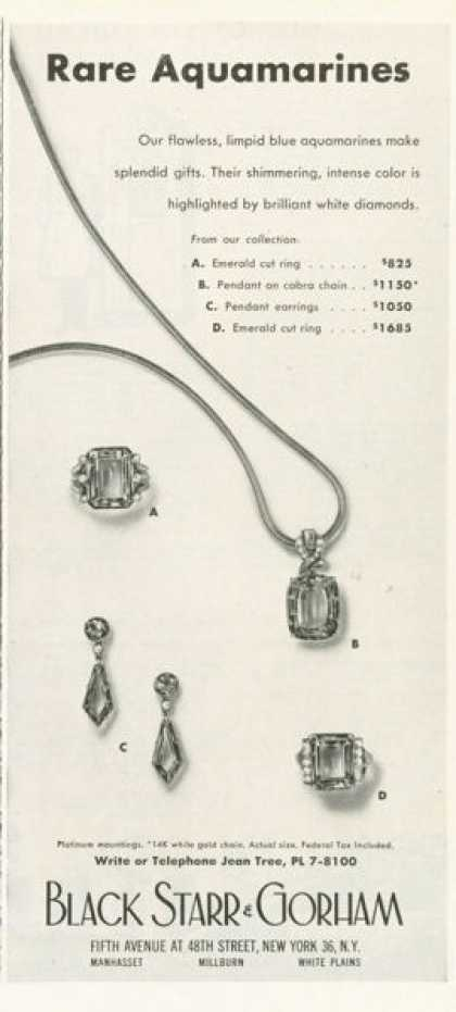 Black Starr & Gorham Aquamarines Ad Ring Earclip (1959)