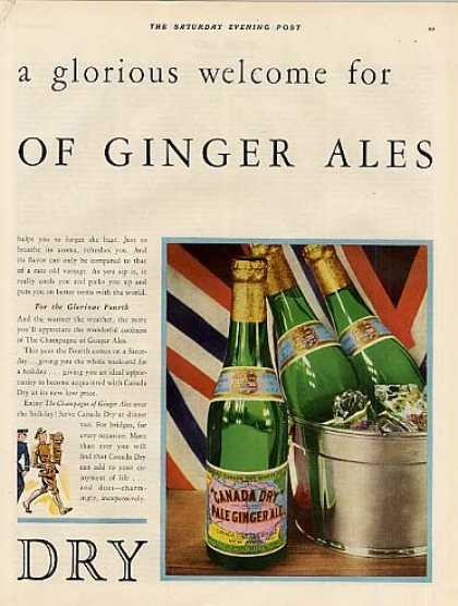 Canada Dry Ginger Ale Color Ad 2 Page (1931)