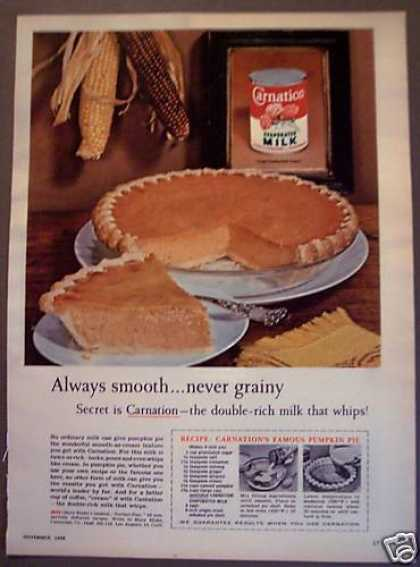Carnation Evaporated Milk Pumpkin Pie Recipe (1958)