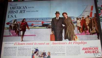 Original 2pg American Airlines Jet Plane Ad 1st (1959)