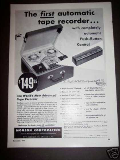 Original Monson 1st Automatic Tape Recorder (1951)