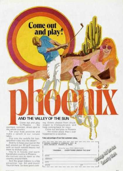 Phoenix & the Valley of the Sun Ad Nice Graphics (1973)