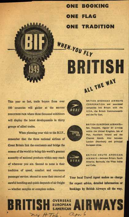 British Overseas Airways Corporation's Airline – ONE BOOKING ONE FLAG ONE TRADITION (1949)