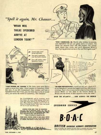 "British Overseas Airways Corporation – ""Spell it Again, Mr. Chaucer..."" (1947)"