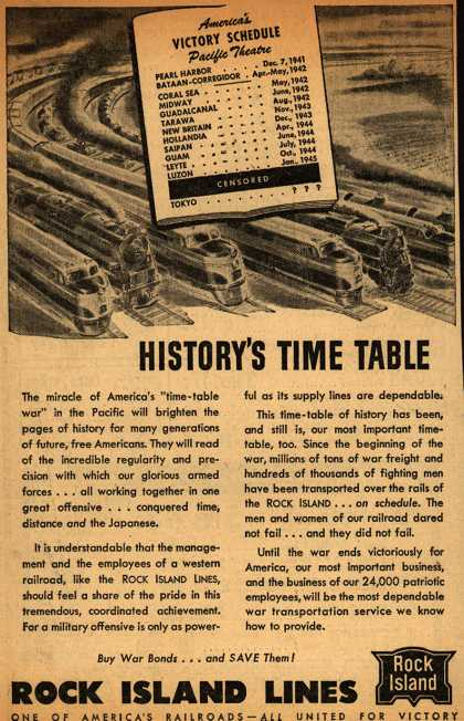 Rock Island Line's War Transportation – History's Time Table (1945)