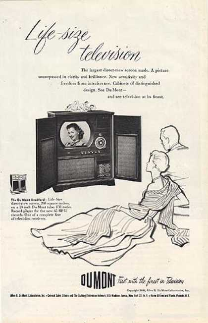 Dumont's . The ad has a sketch of a couple sitting and watching a clear drawing of a tele (1949)