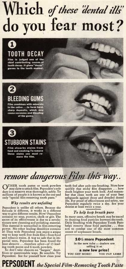 "Pepsodent Company's Pepsodent Tooth Paste – Which of these ""dental ills"" do you fear most? (1936)"