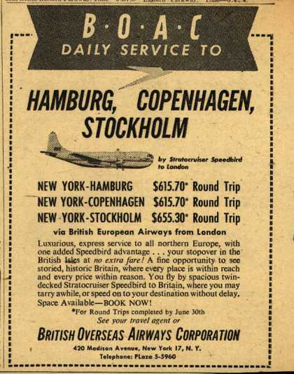 British Overseas Airways Corporation's Hamburg, Copenhagen and Stockholm – BOAC DAILY SERVICE TO HAMBURG, COPENHAGEN, STOCKHOLM (1950)