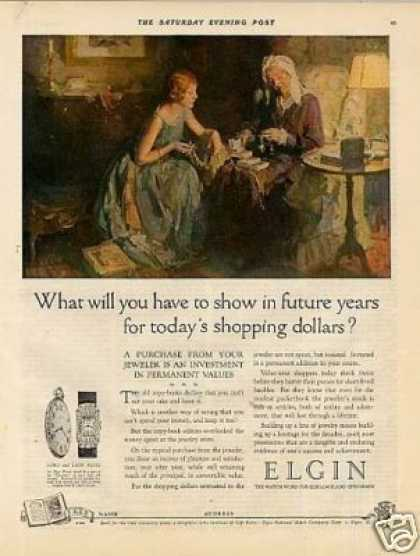 "Elgin Watches Color Ad ""What Will You Have... (1926)"