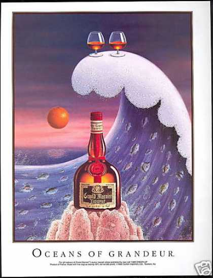 Grand Marnier Liqueur Ocean Wave Fish Art (1990)