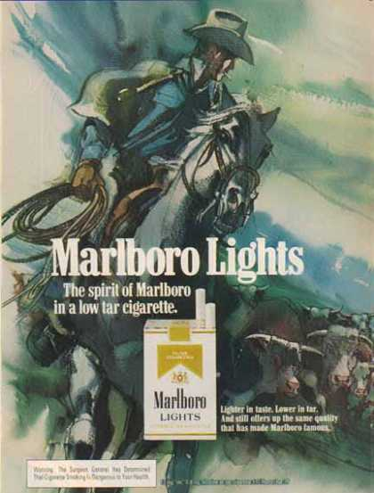 Marlboro Lights Cigarettes – Drawing of Cowboy (1976)