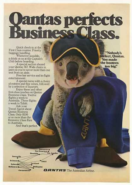 Qantas Airlines Business Class Koala Photo (1982)