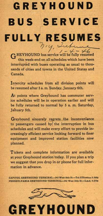 Greyhound – Greyhound Bus Service Fully Resumes (1946)