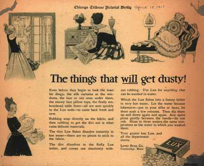 Lever Bros.'s Lux (laundry flakes) – The things that will get dusty (1917)