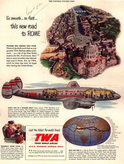 Trans World Airline's world travel – So smooth... so fast... this new road to ROME (1948)