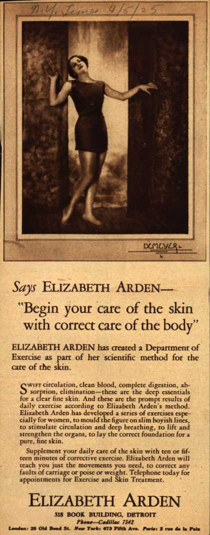 "Elizabeth Arden's Exercise and Skin Treatment – Says Elizabeth Arden – ""Begin your care of the skin with correct care of the body"" (1925)"