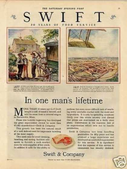 Swift & Company Ad 'in One Man's Lifetime... (1927)