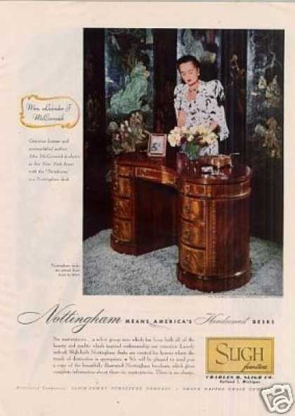 Sligh Furniture Ad Nottingham Desk (1947)