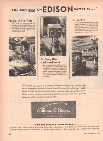 Thomas A. Edison Incorporation – Edison Batteries (1951)