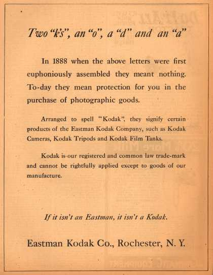"Kodak – Two ""k's"", an ""o"", a ""d"" and an ""a"" (1920)"