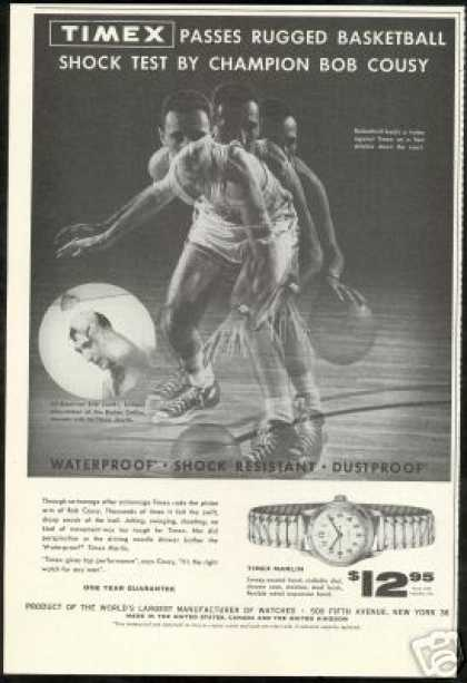 Bob Cousy Photo Basketball Timex Watch Vintage (1955)
