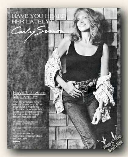 Nice Carly Simon Photo Music Album Promo (1990)