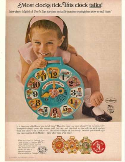 Mattel The Clock Says See 'N Say Toy (1966)