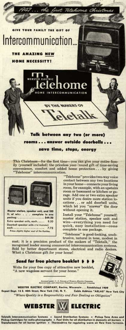 Webster Electric Company's Telehome – 1947...the First Telehome Christmas (1947)