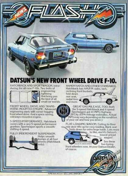 Datsun's New Front Wheel Drive F-10 Car (1976)