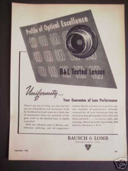 Bausch & Lomb B & L Optical Camera Lens Lenses (1946)