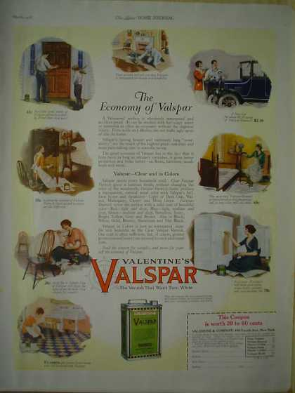 Valentine's Valspar Varnish Clear and colors (1926)