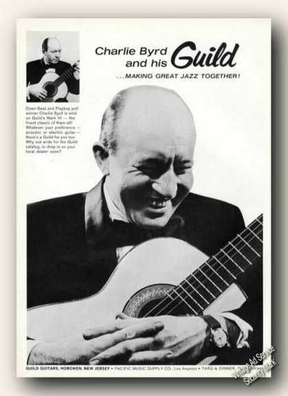 Charlie Byrd Photos Guild Guitars Ad Music (1964)