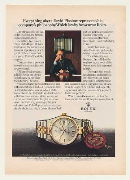 Rolls-Royce David Plastow Rolex Datejust Watch (1980)